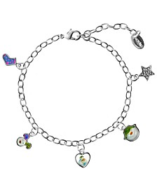 Snowman and Snowdog Picture Charm Bracelet