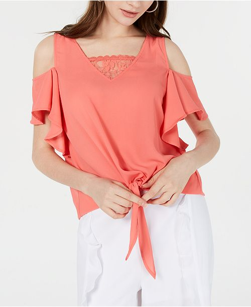 XOXO Juniors' Cold-Shoulder Tie-Front Top