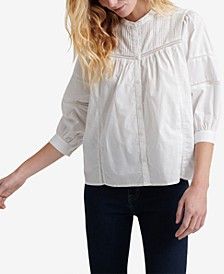 Cotton Pintucked Peasant Top
