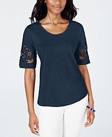 Cotton Lace-Trimmed Top, Created for Macy's