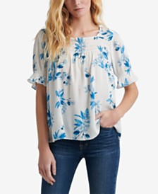 Lucky Brand Printed Shirred Top