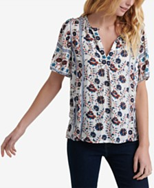 Lucky Brand Mixed-Print V-Neck Top