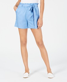 Maison Jules Paper Bag Waist Shorts, Created for Macy's