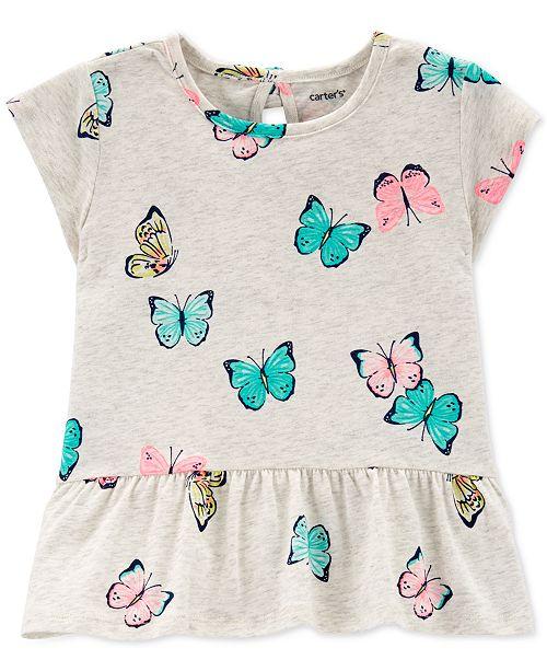 Carter's Toddler Girls Butterfly-Print Peplum Top