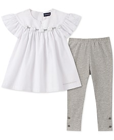 Calvin Klein Little Girls Metallic Stripe Tunic & Leggings Set