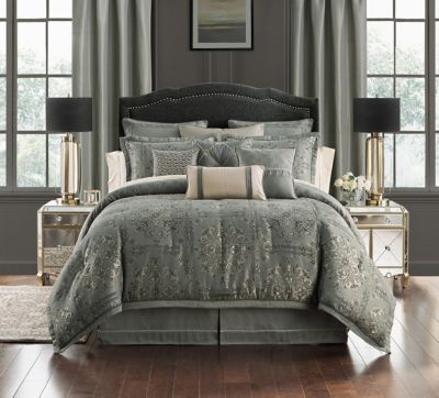 Dimitrios Charcoal Reversible Queen 4 Piece Comforter Set