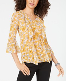 Alfani Printed Ruffle-Front Mesh Top, Created for Macy's
