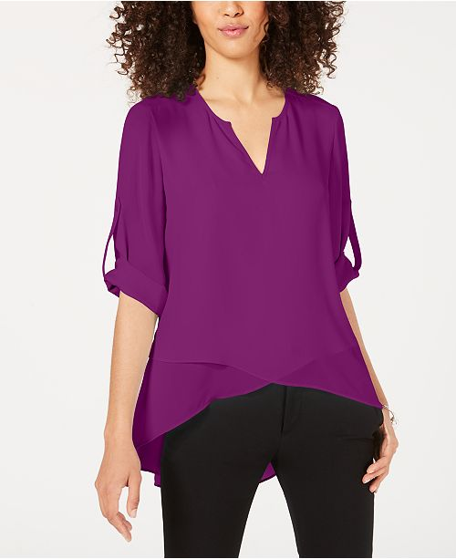 Alfani High-Low Crossover Top, Created for Macy's