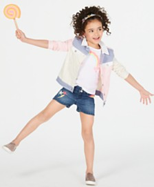 Epic Threads Little Girls Colorblocked Jacket, Graphic-Print T-shirt & Denim Shorts, Created for Macy's
