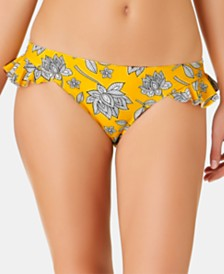 California Waves Juniors' Baja Beauty Floral Printed Ruffle Hipster Bottoms, Created for Macy's
