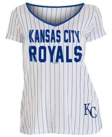 Women's Kansas City Royals Pinstripe V-Neck T-Shirt