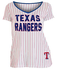 5th & Ocean Women's Texas Rangers Pinstripe V-Neck T-Shirt