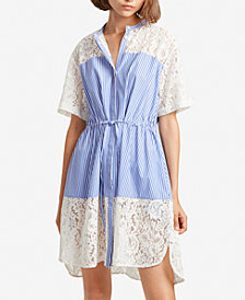 French Connection Adena Cotton Striped & Lace Shirtdress