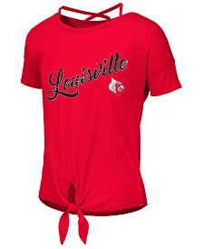 Colosseum Big Girls Louisville Cardinals Tie Front Ballerina T-Shirt
