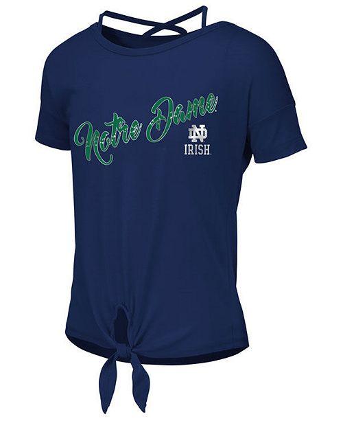af9dd47a ... Colosseum Big Girls Notre Dame Fighting Irish Tie Front Ballerina T- Shirt ...