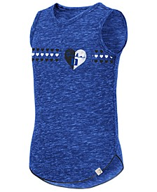 Big Girls Duke Blue Devils Distressed Heart Tank Top