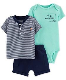Carter's Baby Boys 3-Pc. Striped T-Shirt, Bodysuit & Shorts Set