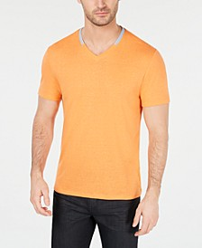 Men's Contrast Collar Linen Blend T-Shirt, Created for Macy's