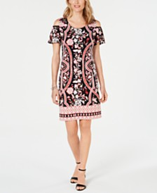 JM Collection Printed Cold-Shoulder Dress, Created for Macy's