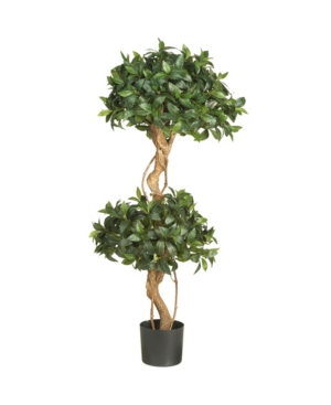 Nearly Natural 4' Sweet Bay Double Ball Topiary Faux Silk Tree