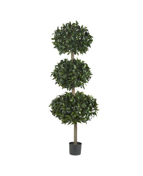 "Nearly Natural 69"" Sweet Bay Triple Ball Tree"