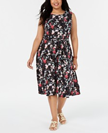 Charter Club Plus Size Floral-Print Sleeveless Dress, Created for Macy's