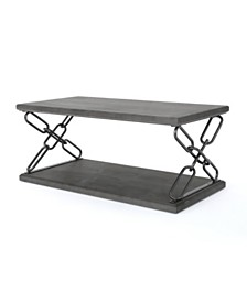 Milah Industrial Faux Wood Coffee Table, Quick Ship
