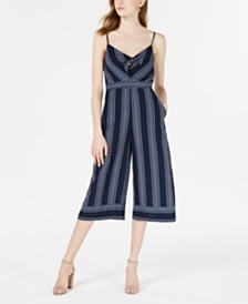 Teeze Me Juniors' Printed Tie-Front Cropped Jumpsuit