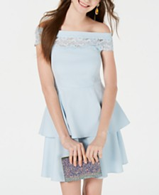 Teeze Me Juniors' Off-The-Shoulder Lace-Detail Dress