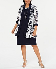 Plus Size Printed Jacket & Necklace Dress