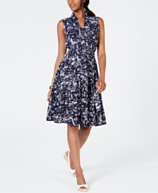 Charter Club Petite Belted Scenic Dress, Created for Macy's