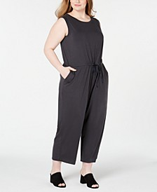 Plus Size Drawstring Tencel ™ Jumpsuit