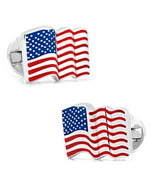 Sterling Waving American Flag Cufflinks