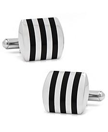 Stainless Steel Striped Onyx Cufflinks