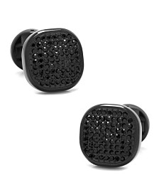 Stainless Steel Pave Crystal Cufflinks
