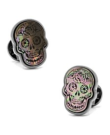 Day of the Dead Skull Smoke Mother of Pearl Cufflinks