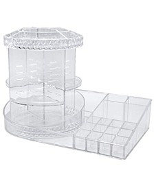Rotating Makeup Organizer Station Nail Bar - 360 Degree Rotating Adjustable Carousel with Tray