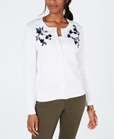 Charter Club Appliqué Pearl-Embellished Cardigan, Created for Macy's