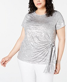 INC Plus Size Side-Tie Shine Top, Created for Macy's