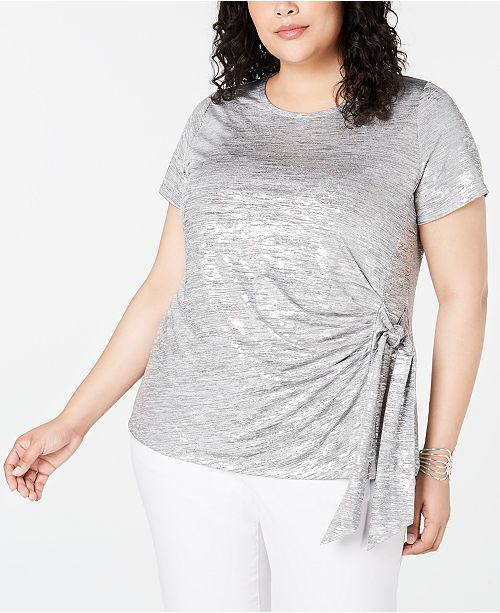 INC International Concepts I.N.C. Plus Size Side-Tie Shine Top, Created for Macy's