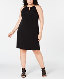 I.N.C. Plus Size Halter-Chain Sheath Dress, Created for Macy's