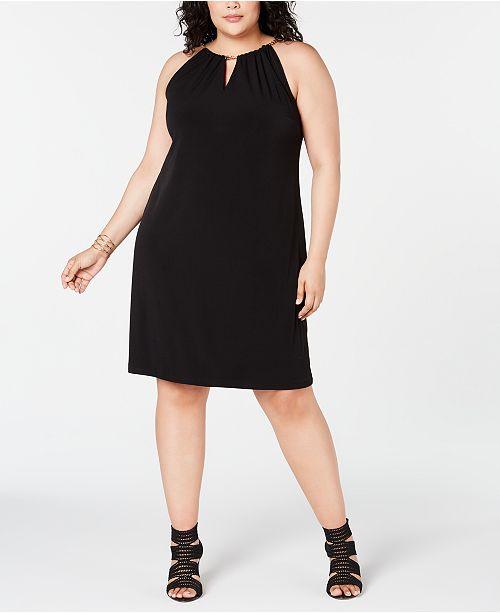 I.N.C. Plus Size Halter-Chain Sheath Dress, Created for Macy\'s