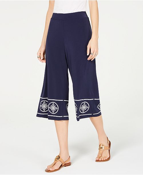 Michael Kors Studded Wide-Leg Pants, Regular & Petite Sizes