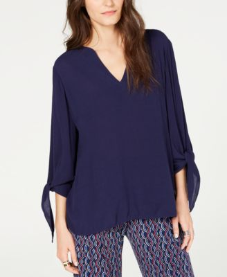 V-Neck Tie-Sleeve Top, Regular & Petite Sizes