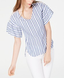 MICHAEL Michael Kors Striped Flutter-Sleeve Top, Regular & Petite Sizes