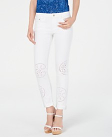 MICHAEL Michael Kors Embroidered Eyelet Skinny Jeans