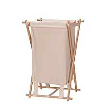 Collapsible Wood X-Frame Laundry Hamper