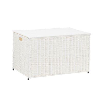 Large Wicker Storage Chest White