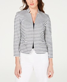 Nine West Striped Kiss-Front Blazer