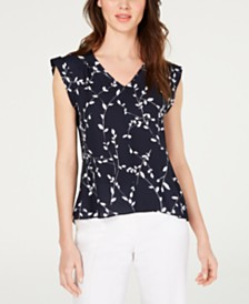 Nine West Printed Cuffed-Sleeve Top